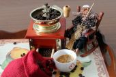 Coffee grinder and Befana or Epiphany — Stock Photo