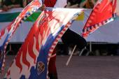 Palio, the city celebrates with competitions of the flag wavers and the parade of the districts — Stock Photo