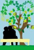Spring couple — Stock Vector