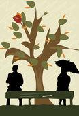 Autumn couple — Stock Vector