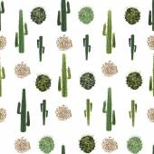Cacti and tumbleweed seamless pattern — Stock Vector