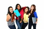 Group of smiling female students, isolated on white background. — Stock Photo
