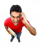 High angle view of  an Indian student going crazy. — Stock Photo