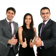 Asian Indian businessmen and businesswoman in group with thumbs up — Stock Photo #77199499