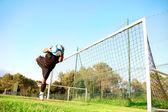 Goalie stops a ball — Stock Photo