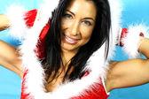 Sexy girl with santa claus clothes — Stock Photo