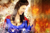 Young woman dressed as a superhero — Stock Photo