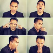 Six emotions of an Asian man — Stock Photo
