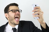 Young businessman making a selfie — Stock Photo
