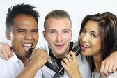 Karaoke with friends — Stock Photo