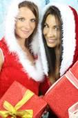 The christmas season - two beautiful girls — Stock Photo
