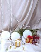 Card New Year with silver fir — Stock Photo