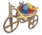 Easter bike with blue eggs — Stock Photo