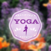 Vector yoga illustration. Name of yoga studio on a floral background. — Vetorial Stock