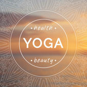 Vector yoga illustration. Name of yoga studio on a sunset background. — Vettoriale Stock