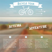 Poster for bike adventure with autumn landscape on a photo background. — Stock Vector