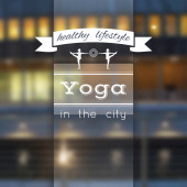 Vector yoga illustration. Name of yoga studio on a city background. — Stock Vector