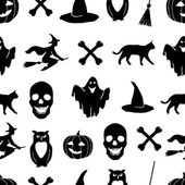 Black Halloween icons on a white background. — Vecteur