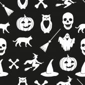 White Halloween icons on a black background. — Stock Vector