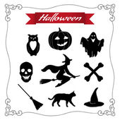 Black Halloween set on a white background. — Stock Vector