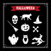 White Halloween set on a black background. — Stock Vector