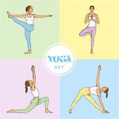 Yoga Set. — Stock Vector