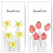 Cards with spring flowers — Stock Vector