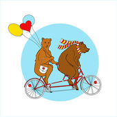 Bears  on a tandem bicycle — Stock Vector