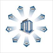 Bank Loans as a cash flow — Stock Vector