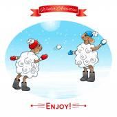 Sheep playing snowballs — Stock Vector