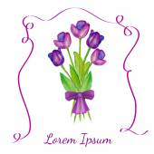 Tulips bouquet with violet ribbon — Stock Vector