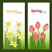 Tarjetas con flores de primavera — Vector de stock