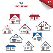 Set of flat icons of houses — Stock Vector