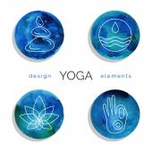Set of linear yoga icons — Stock Vector