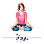 Girl in yoga pose — Stock Vector
