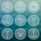 Linear yoga icons — Stock Vector