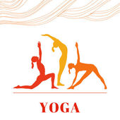 Women in the yoga poses — Stock Vector
