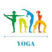 Yoga poster with silhouettes of women — Stock Vector