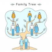Flat family tree — Stock Vector