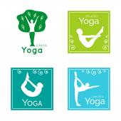 Set of yoga logos. Silhouettes of people in yoga poses. — Stock Vector