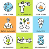 Set linear icons for ayurveda design. Ayurveda vector illustration. — Stock Vector