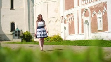 Beautiful young woman walking in a park in summer — Stock Video