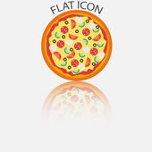 Pizza in the reflection. Vector illustration — Stock Vector
