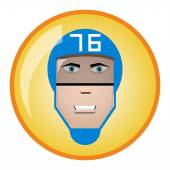Hockey player with bandage on face icon. Vector illustration — Stockvektor