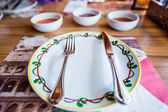 White empty plate with fork and knife — Stock Photo