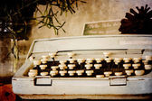 Old typewriter on sepia filter — Stock Photo