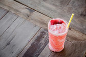 Strawberry Smoothie on wood table. — Stock Photo