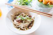 Noodles with pork and pork balls Thai style. Thai peoples call B — Stock Photo