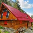 Wooden mountain rescue chalet with solar panels — Stock Photo #53813291