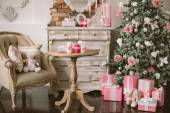 New Year's and Christmas interior in pink color 3 — Stock Photo
